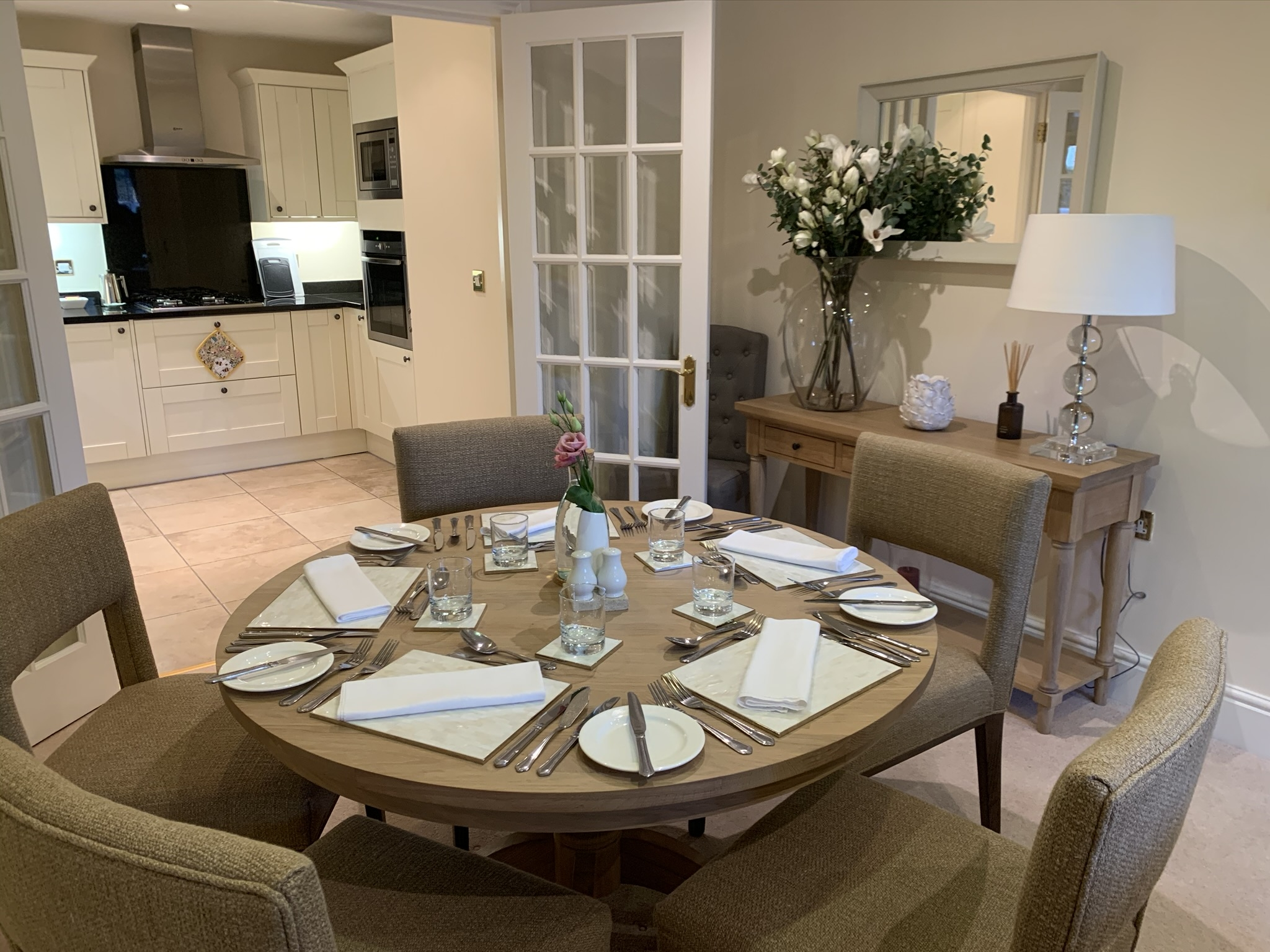 Dining and Kitchen in Assisted Living Apartment 1